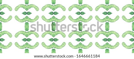 Basil Repeatable Tile. Emerald Geometrical Background. Moss Watercolor Drawing. Arabian Traditional Decor.  White and Green Backdrop. Repeat Beautiful Painting.