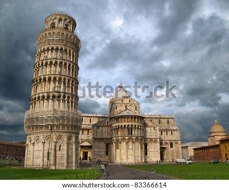 Basilica and the leaning tower. Pisa. Italia