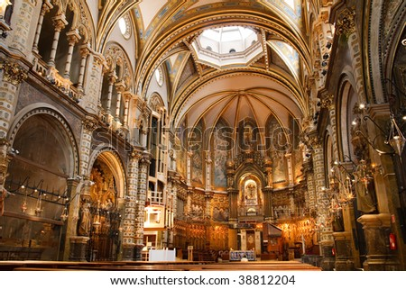 Basilica at the Montserrat Monastery, a spectacularly beautiful Benedictine Abbey high up in the mountains near Barcelona, Catalonia, Spain.