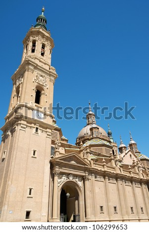 Basilica Cathedral of Our Lady of the Pillar in Zaragoza is supposed to be the first dedicated to Holy Mary. The first church on this site was Romanesque, then became Baroque style.