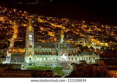 Basilica Cathedral of Quito, Ecuador night shot - stock photo
