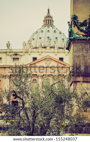 Basilica church of Saint Peter (San Pietro), Rome, Italy vintage looking