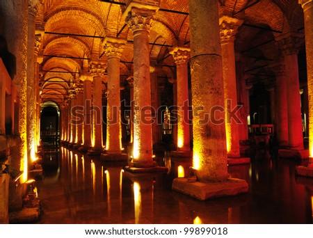 Basilica Cistern in Istanbul, Turkey.