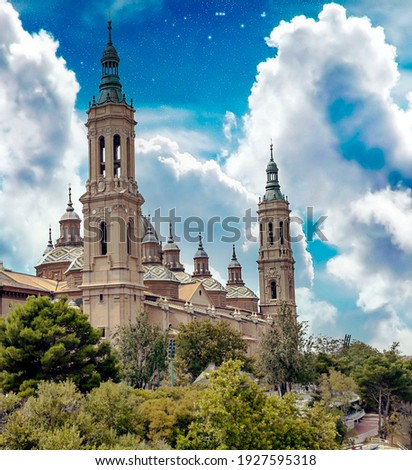 Basilica del Pilar in the city of Zaragoza in the north of Spain Foto stock ©