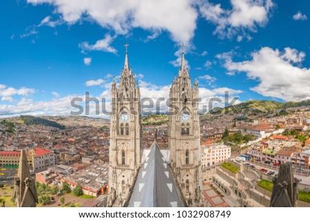 Basilica del Voto Nacional and downtown Quito in Ecuador ストックフォト ©