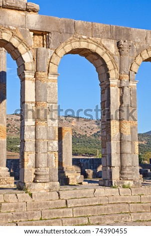 Basilica detail - Volubilis features the best preserved Roman ruins in this part of northern Africa.
