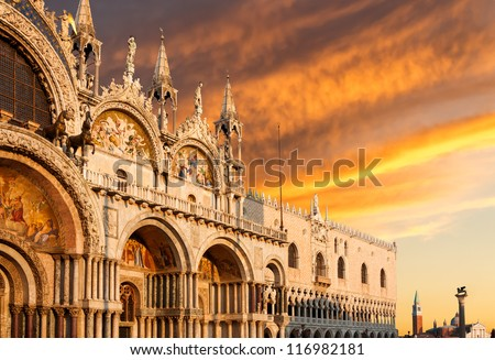 Basilica di San Marco and Monastery of San Giorgio under very dramatic sunset, Venice, Italy