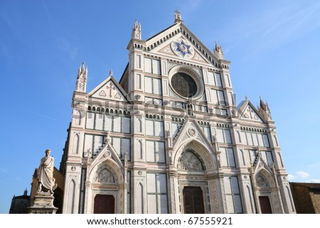 Basilica di Santa Croce (Basilica of the Holy Cross), principal Franciscan church in Florence, Italy. Neo-gothic facade.