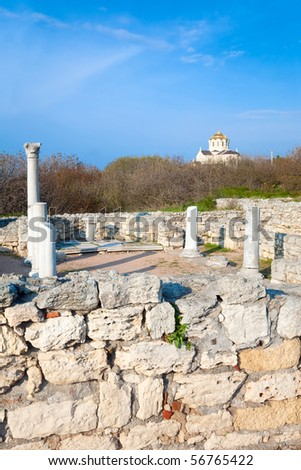Basilica excavation in evening Chersonesos (ancient town) and St Vladimir's Cathedral (Sevastopol, Crimea, Ukraine)