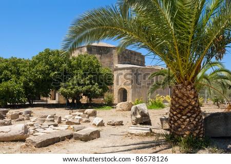 Basilica of Agios Titos in ancient site of Gortyn. Crete, Greece