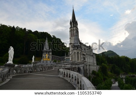 Basilica of Immaculate Conception in Lourdes. Sanctuary of Our Lady. Lourdes. Occitany. France. #1105353740