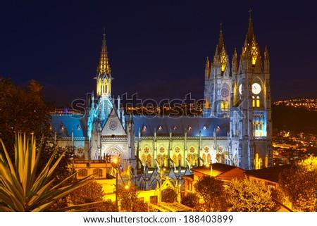Basilica Of National Vote By Night Quito Ecuador