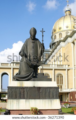 Basilica of  Our Lady of Sorrows in Lichen,  Poland  - Statue of John Paul II