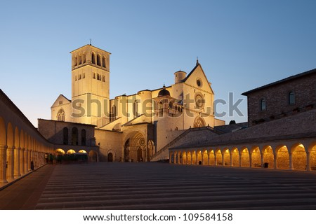 Basilica of San Francesco of Assisi at sunset, Umbria, Italy, Europe