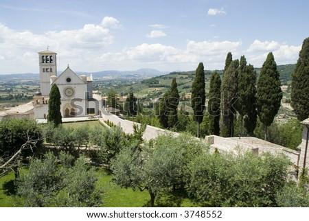 Basilica of San Francis in Assisi - stock photo