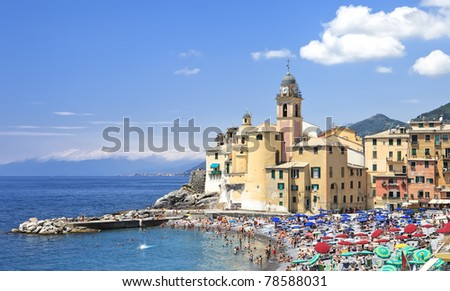 Basilica of Santa Maria Assunta in Camogli. Italian Riviera