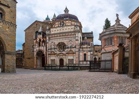Basilica of Santa Maria Maggiore in Citta Alta, Bergamo, Italy. Square in Old town or Citta Alta with Duomo in Bergamo city Foto d'archivio ©