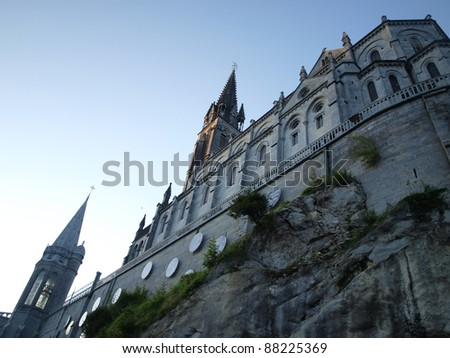 Basilica of the Immaculate Conception Masabelsk? over the grotto in Lourdes, France