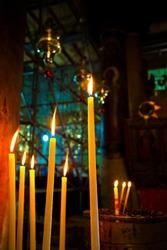 Basilica of the Nativity. Burning candle