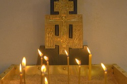 Basilica Of The Nativity. Burning candles in the Church on the main altar.