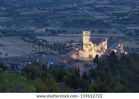 Basilica San Francesco of Assisi, church at evening, Umbria, Italy