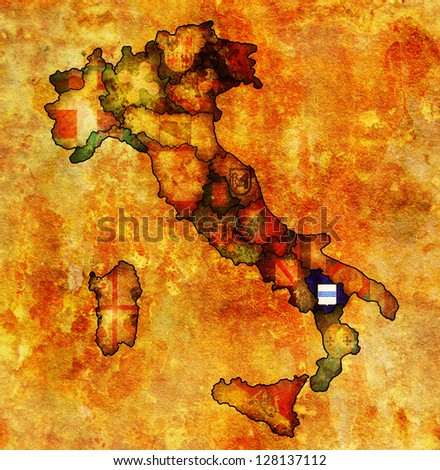 basilicata region on administration map of italy with flags