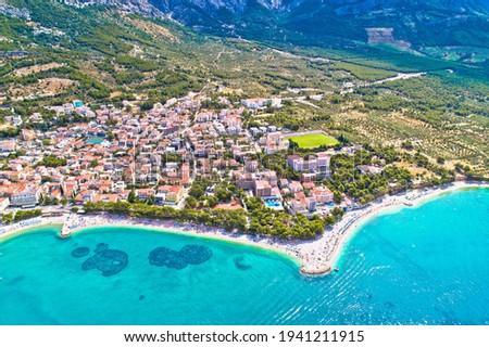 Baska Voda beach and waterfront aerial view, Makarska riviera in Dalmatia, Croatia Stock fotó ©