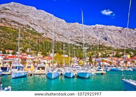 Baska voda waterfront sailing destination in Makarska riviera, Dalmatia region of Croatia Stock fotó ©