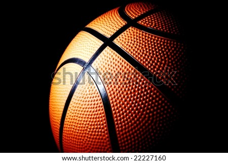 basket ball against black
