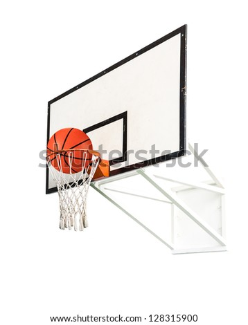 Basket ball inside the net isolated on white background