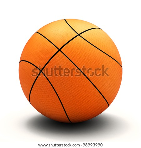 Basket ball, white background and smooth shadow
