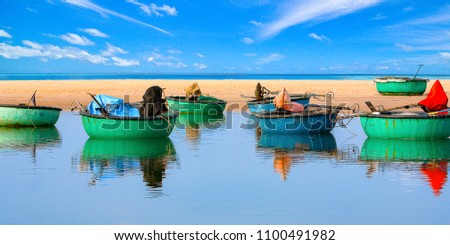 Basket boats of Vietnamese fisherman in Ke Ga cape, Binh Thuan province,  Vietnam. These boats are used to transport in short distance only (or between shore and the fishing boats)