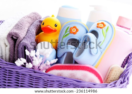 basket full of baby accessories children