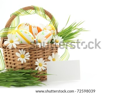 Basket full of easter eggs with blank card