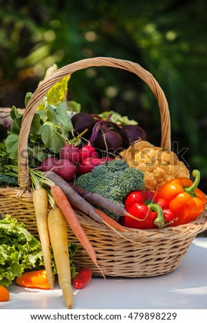 Basket full of fresh organic vegetables on natural background #479898229