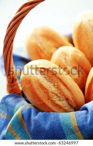 basket full of homemade fresh buns - food and drink