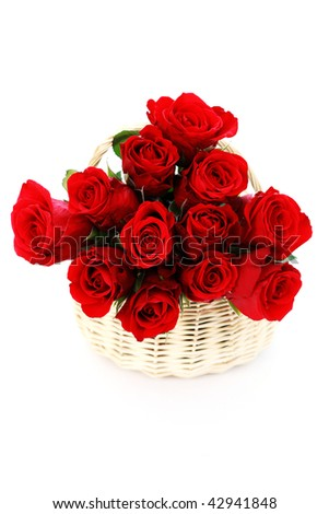 basket full of red roses on white background - flowers and plants