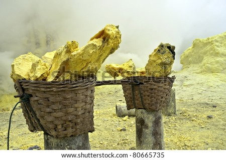 Basket full of sulfur nuggets atop a volcano in Indonesia - stock photo