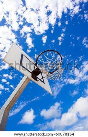 Basket hoop over a blue vivid sky