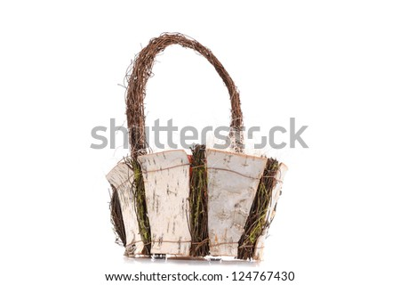 basket made from birch isolated on the white background