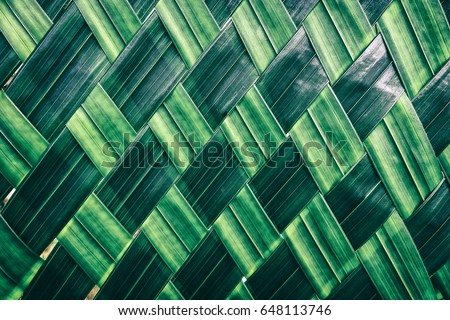 basket making, zigzag weave of palm leaf, green foliage interlace texture background #648113746