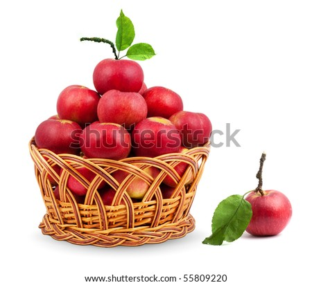 Basket of apples isolated on a white background