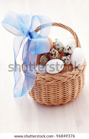 basket of chicken and quail eggs - food and drink