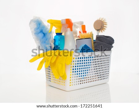 Basket of Cleaning Supplies and Tools