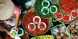 Basket of dried chili pepper sold in asian market