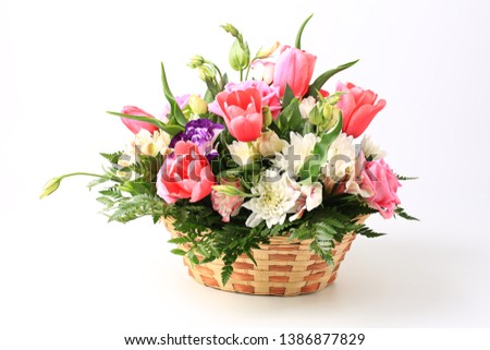 basket of flowers isolated on white background. ストックフォト ©