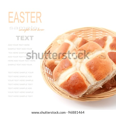 Basket of Hot Cross Buns isolated on white
