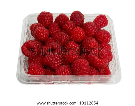 Basket of Raspberries isolated on white