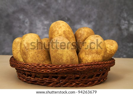 Basket of raw potatoes