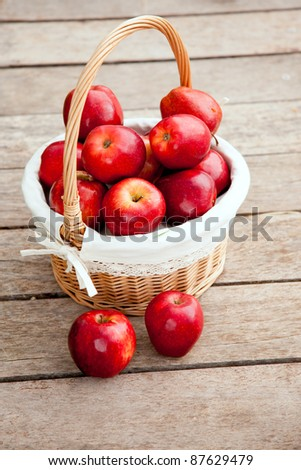 basket of red apples on wood floor aerial view